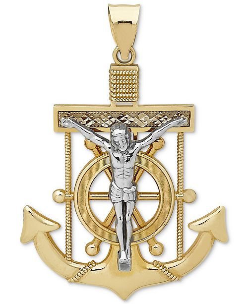 Macys mens mariner cross pendant in 14k gold white gold main image main image aloadofball Images