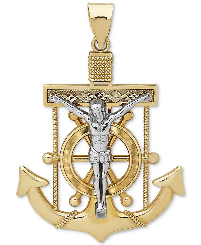 Macy's - Men's Mariner Cross Pendant in 14k Gold & White Gold