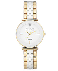 Anne Klein Women's Diamond-Accent Gold-Tone & White Ceramic Bracelet Watch 30mm