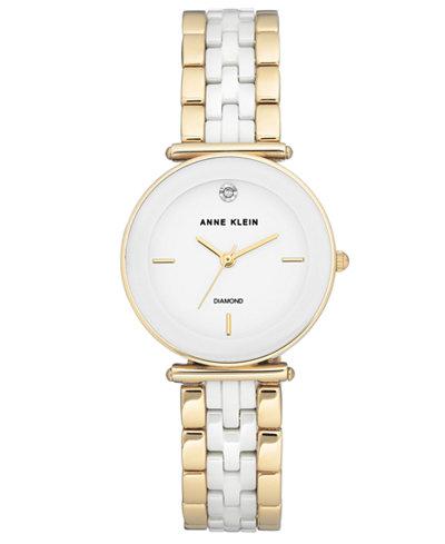 Anne Klein Women's Diamond-Accent Gold-Tone & White Ceramic Bracelet Watch 30mm