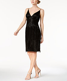 Adrianna Papell Beaded Plunge Sheath Dress