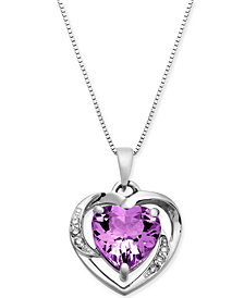 "Amethyst (1-3/4 ct. t.w.) & Diamond Accent 18"" Pendant Necklace in 14k White Gold"