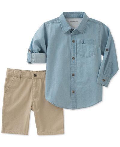 Calvin Klein Woven Cotton Shirt & Shorts Set, Toddler Boys