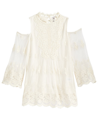 Beautees Embroidered Mesh Top, Big Girls