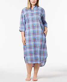 Lauren Ralph Lauren Catalina Classic Plus Size Plaid Sleepshirt