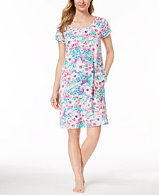 Miss Elaine Knit Watercolor-Print Nightgown