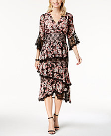 JAX Floral-Print Lace-Trim Midi Dress