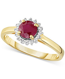 Certified Ruby (3/4 ct. t.w.) & Diamond (1/8 ct. t.w.) Ring in 14k Gold