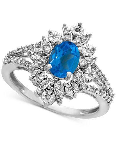 Blue Topaz (1 ct. t.w.) & Diamond (1/4 ct. t.w.) Ring in 14k White Gold