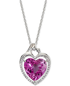 "Lab-Created Pink Sapphire (5-7/8 ct. t.w.) & White Sapphire (1/6 ct. t.w.) Heart 18"" Pendant Necklace in Sterling Silver"