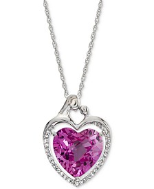 """Lab-Created Pink Sapphire (5-7/8 ct. t.w.) & White Sapphire (1/6 ct. t.w.) Heart 18"""" Pendant Necklace in Sterling Silver"""