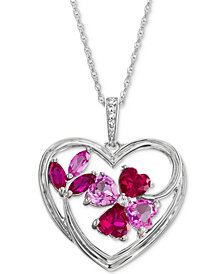 "Lab-Created Multi-Gemstone 18"" Heart Pendant Necklace (1-1/3 ct. t.w.) in Sterling Silver"
