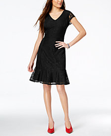 NY Collection Petite Lace Ruffle-Hem Dress, Created for Macy's