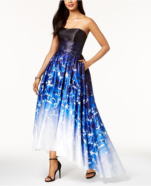 Strapless Blue Printed Betsy Adam Ombré Ballgown Multi amp; IP6YxF