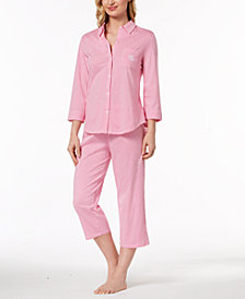 Lauren Ralph Lauren Catalina Icon Three-Quarter-Sleeve Cotton Pajama Set