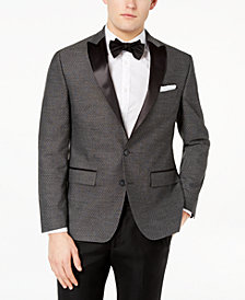 CLOSEOUT! Ryan Seacrest Distinction™ Men's Modern-Fit Stretch Charcoal Diamond Jacquard Dinner Jacket, Created for Macy's