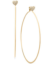 Michael Kors Pavé Heart Charm Hoop Earrings