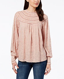 Lucky Brand Embroidered Lattice-Trim Blouse