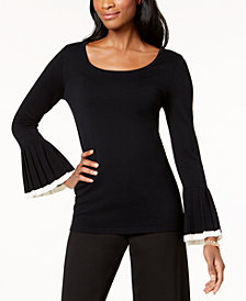 Charter Club Pleated Bell-Sleeve Sweater, Created for Macy's