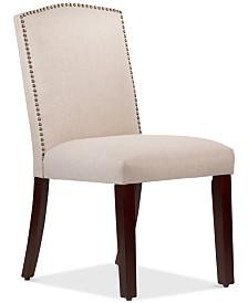 Callon Linen Nail Button Dining Chair, Quick Ship