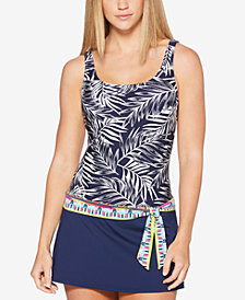 JAG Tropical Palm Thigh-Minimizing Tie-Waist Swimdress