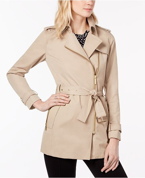 Michael Kors Belted Front-Zip Trench Coat in Regular & Petite Sizes