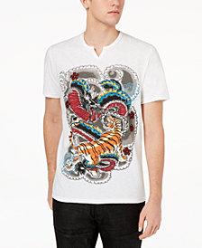 I.N.C. Men's Graphic-Print Split-Neck T-Shirt, Created for Macy's