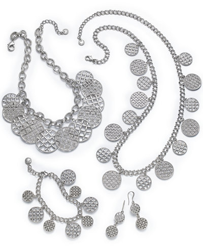 Charter Club Silver-Tone Pavé Disc Jewelry Separates, Created for Macy's