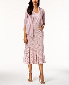 R & M Richards Sequined Lace Midi Dress & Mesh Jacket