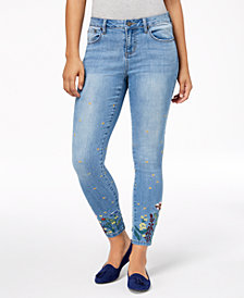 Earl Jeans Embroidered Ankle Skinny Jeans