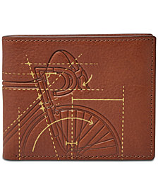 Fossil Men's Peter Embossed Leather Bifold Flip ID Wallet
