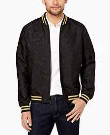 Tallia Orange Men's Modern-Fit Black Tonal Paisley Bomber Jacket
