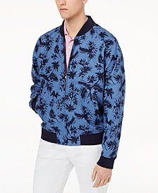 Tallia Orange Men's Slim-Fit Navy Tropical-Print Bomber Jacket