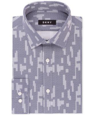 DKNY Mens Herringbone Plaid Button Up Shirt