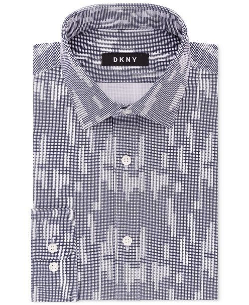 990fcfb4d903ad DKNY Men s Slim-Fit Navy White Print Dress Shirt