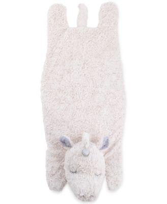 Luxury Plush Tummy Time Mat Blanket Ivory Unicorn