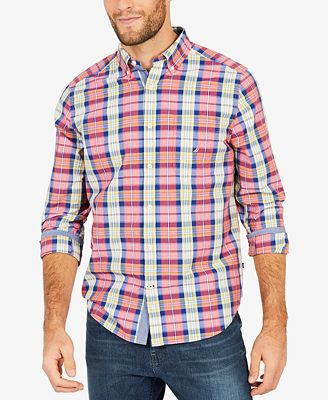 Nautica Men's Blue Depths Plaid Shirt - Casual Button-Down Shirts ...