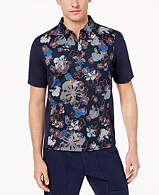 Daniel Hechter Paris Men's Mix-Media Floral-Print Polo, Created for Macy's