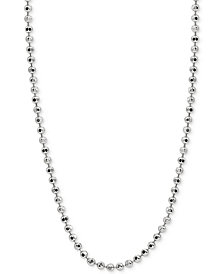 "Giani Bernini 30"" Beaded Chain Necklace in Sterling Silver, Created for Macy's"