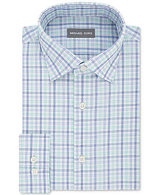 Micheal Kors Men's Classic/Regular Fit Airsoft Stretch Performance Blue and Green Check Dress Shirt
