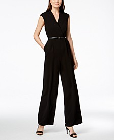 Belted Cap-Sleeve Jumpsuit