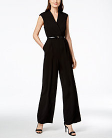 Calvin Klein Belted Cap-Sleeve Jumpsuit