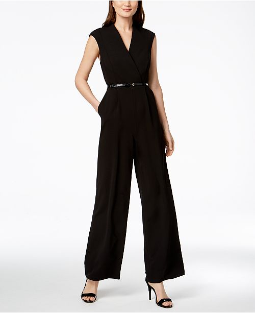 9c1f070a010 Calvin Klein Belted Cap-Sleeve Jumpsuit   Reviews - Pants   Capris ...