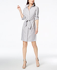 Calvin Klein Cotton Striped Tie-Waist Shirtdress