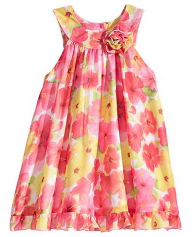 Blueberi Boulevard Floral-Print Chiffon Dress, Little Girls (4-6X)