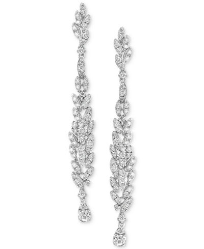 Diamond Cluster Linear Drop Earrings (1-1/3 ct. t.w.) in 14k White Gold