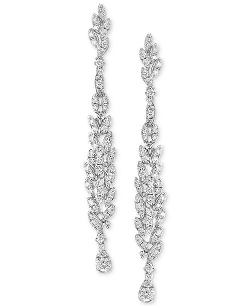 EFFY Collection Diamond Cluster Linear Drop Earrings (1-1/3 ct. t.w.) in 14k White Gold