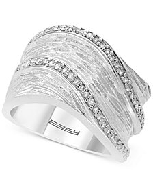 EFFY® Diamond Textured Statement Ring (1/4 ct. t.w.) in Sterling Silver