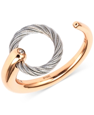 White Topaz Accent Two-Tone Circle Cuff Ring in Stainless Steel and Rose Gold-Tone Pvd Stainless Steel
