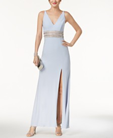 XSCAPE Petite Beaded Plunge Gown